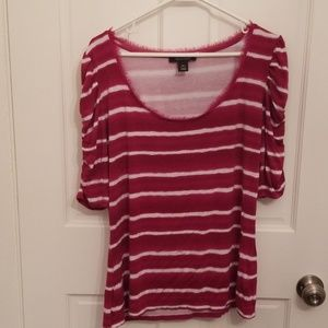 Pink and White Striped WHBM shirt